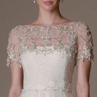 Новые роскоши кристаллы сексуальные короткие рукава кружева свадебные свадебные болеро куртка шаль белый / слоновая слоновая кастомное размером 2 4 6 8 10
