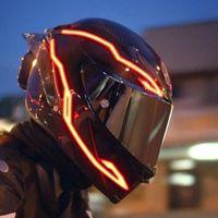 دراجة نارية خوذة ضوء قطاع دراجة اللمعان الصمام بار ليلة ركوب إشارة أضواء 4 أوضاع الديكور ملصقات السيارات الملحقات