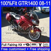 Injectie Mold Lichaam voor Kawasaki GTR1400 08 09 10 11 255HM.11 GTR-1400 08 11 GTR 1400 Glossy Red NIEUW 2009 2009 2010 2011 Verkortingsset