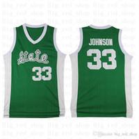 Erkek Michigan State Spartans 33 Earvin Johnson LA Yeşil Beyaz Koleji 33 Larry Bird Lisesi Basketbol Forması