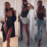 새로운 패션 섹시한 관점 깊은 V 바디 수트 여성 여름 중공 아웃 메쉬 Bodycon 점프 수트