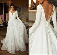 새로운 도착 현대 보헤미안 해변 라인 웨딩 드레스 V 목 새틴 레이스 긴 소매 섹시한 오픈 백 플러스 사이즈 결혼식 신부 가운