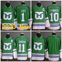2020 Neue Carolina Hurrikane Heritage Grüner Trikot 10 Ron Francis 1 Mike Liut 11 Kevin Duede Leere Hartford Waller genäht Hockey Trikots