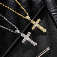 Fashion Hip Hop Cross Pendant Chain Necklace silver Gold Color Crystal Rhinestone Jewelry Alloy Necklace Birthday Party Gift