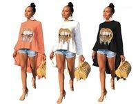 Desen Uzun Kollu Hi Lo Tees Kadın Casual Bayan Tasarımcı Sequins Tshirts Moda Dudaklar Tops