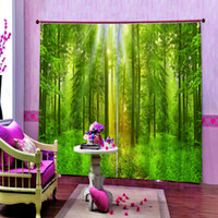 Green Forest Sunrise Sunset window Curtain 3d Scenery Forest...
