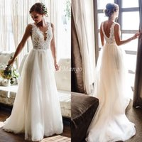 Bohemian Beach Wedding Dresses Lace Appliques Backless A- Lin...
