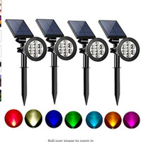 Solar Spot Lights Extérieur 2-en-1 Réglable de couleur 7 LED Étanche Security Arbre Spotlights Stepwn Step Walkway Garden (4 pack)