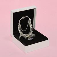 مزاجه نجمة القمر سحر سوار تنطبق على باندورا مجوهرات الفضة مطلي ديي الأبيض كريستال مطرز سوار مع مربع السيدة هدية