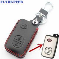 FLYBETTER En Cuir Véritable 3Button À Distance Smart Key Cover Cover Pour Toyota 4Runner / Venza / Land Cruiser / Prado Car Styling L63