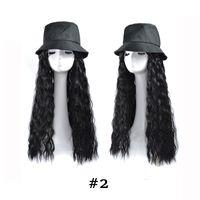 Синтетический парик шляпа рыбака шляпа шапка длинная волна ломбер парик для женщин Женский термостойкий ФИБА длинные кукурузные вьющиеся парик