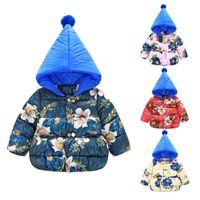 Super bonito da criança do bebê meninas miúdos macio quente de inverno acolchoados casacos jaquetas casuais floral bonito Outerwears Flor Parkas