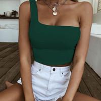 Mulheres uma cultura ombro tops sem mangas T-shirt Regatas Verão Lady Feminino Praia Vest desencapados Midriff roupas de verão