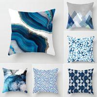 Nuevo diseño abstracto azul creativo fundas de cojines impresas 45x45 cm Hogar / Oficina Sofá Fundas de almohada de cintura Poliéster Funda de almohada de lino