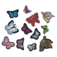 12 styles pink butterfly patch butterfly applique patches em...