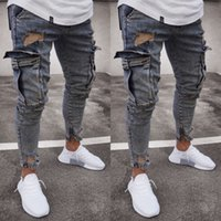 Fashion Men' s Ripped Skinny Biker Jeans Frayed Slim Fit...