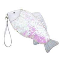 Women Fish- Shaped Sequin Clutch Bag Girl Fashion Sequin Coin...