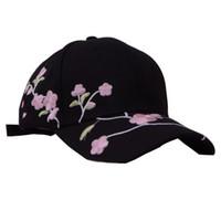 e6164d02e040ab Wholesale white black flower hat for sale - Woman Embroidery Flower  Baseball Cap Lovely Peach Print