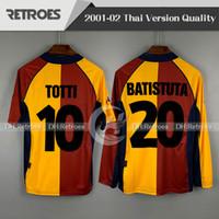 2001 2002 레트로 빈티지 셔츠를 기념 01 02 긴 소매 홈 토티 바티스투타 TOMMASI 몬텔라 셔츠 고전 축구 유니폼을 romas