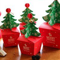 3D Yılbaşı Ağacı Hediye Kutusu ile Bell Kağıt Şeker Kutusu DIY Kurabiye cholocate Kağıt Elma Kutular Merry Christmas Dekorasyon HH9-A2567 Packaging