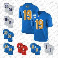 사용자 정의 NCAA 피츠버그 팬더 아무 이름이나 번호 피트 (24) 코너 (13) 댄 마리노 (97) 아론 도널드 (12) P.Ford PITT 레드 화이트 블루 축구 유니폼