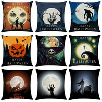 Halloween Night Linen Cushion Covers Home Office Sofa Square...