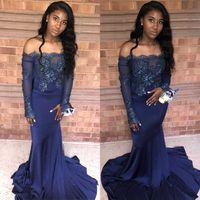 С блестками с плечо с длинными рукавами Sparkly выпускные платья 2019 для черных девушек видят через вечерние платья плюс размер