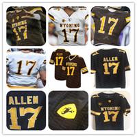 NCAA homens wyoming 17 josh allen jersey futebol marrom branco barato stitcehd faculdade jerseys personalizado tamanho atacado s-4xl