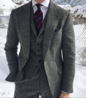 Herringbone Tweed Tweed Groom Tuxedos Pour formelle Business Mariage Grey Hommes Costumes 3 pièces Homme Set Jacket Waitetcoat avec pantalon Te988
