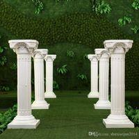 Hohlblume Design Römische Säulen Weiße Farbe Kunststoff Säulen Straße Zitierte Hochzeit Requisiten Ereignisdekoration liefert 4 teile / los