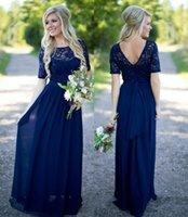 국가 신부 들러리 드레스 핫 긴 결혼식 해군 파란색 레이스 시폰 반팔 몽막 구슬 바닥 길이 하녀 명예 가운