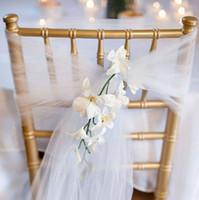 25pc / lot New Wedding Organza Sedia Sash Arco per la sedia Copertura Banchetto Beach Garden Wedding Party Decor Organza Sashes