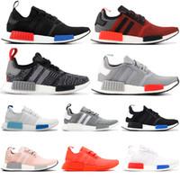 NMD R1 çekirdek siyah gür kırmızı koşu ayakkabıları erkekler kadınlar siyah monokrom Blanch Mavi üçlü siyah beyaz lüks tasarımcı erkekler ayakkabı 36-45