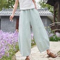 Женские брюки CAPRIS JONATURATURE WARDES HURY NEGES EURACTY талии карманы 2021 летний старинный пэчворк брюк сплошной цвет