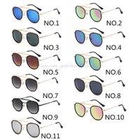 Designer UV400 occhiali da sole rotondi Uomini Donne Steampunk Goggle Retro modo di marca di vetro di Sun Classic interno ed esterno Doppia Circle Occhiali