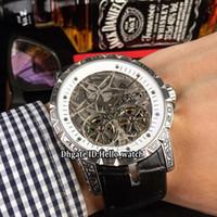 Excalibur 45 Double Tourbillon quadrante bianco scheletro RDDBEX0281 Mens automatico orologio intagliato modello cassa cinturino in pelle Nuovi orologi hello_watch
