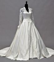 2021 Vintage Kate Middleton Длинные рукава Падение Свадебные платья A-Line V-образным вырезом тафты цвета слоновой кости аппликациями баски Свадебные платья Vestidos De NOVIA