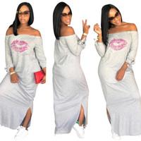 Sexy Lip Designer Dress For Women Alças dividir Verão Vestuário Primavera Famale vestidos longos