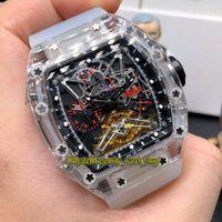 La versión superior RM 056 Felipe Massa caja transparente dial esquelético relojes de diseño Movimiento RM056 del reloj para hombre de la goma de Japón Miyota automático