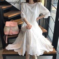 Партии Платья Gaganight Мода Женщины Кружева Белое Правление Правление Пустые Из-за Леди Повседневная Свободные Пляж Элегантные Корейский Vestidos Chic Лето