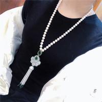 Güzel doğal 8-9mm beyaz tatlısu inci püskül kazak zincir kolye moda takı