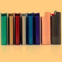 Новейший красочный металлический портативный зажигалка защитная защитная оболочка рукава держатель инновационный дизайн для курящих аксессуаров для курения сигареты DHL