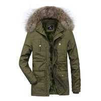 Mens Hooded Fur Collar Coat Solid Color Long Sleeve Keep War...