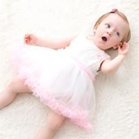 Traje Batismo Baby Girl infantil Princesa do aniversário vestido INS malha Lace Romper vestido recém-nascidos sem mangas em torno do pescoço Rompers