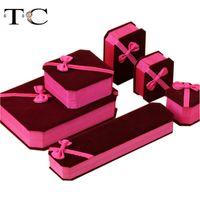 Anillo Collar Cinta de color moda de joyería caja de terciopelo rosa bowknot regalo regalo de la joyería pulsera de embalaje de la caja