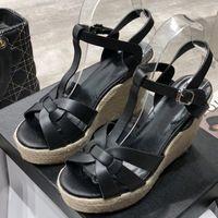 Verano mujer sandalias zapatos mujeres bombas plataforma cuñas talón moda casual bucle bling estrella suela gruesa zapatos de mujer