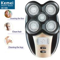 Elektrikli tıraş makinesi Kemei 5 1 yüz kesme burun saç erkekler yüz yıkama havlu çok fonksiyonlu 5 temizleme kesici kafa döndürme