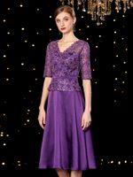 Fancy Purple Mother of the Bride Dresses Elegante pizzo floreale scollo a V mezze maniche abiti da sposa 2019 Nuovo arrivo