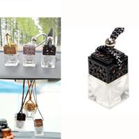 Cube bouteille de parfum Voiture suspendue Parfum Rearview Ornement 6ML Désodorisant Huiles Essentielles Diffuseur De Parfum Bouteille En Verre 4colors