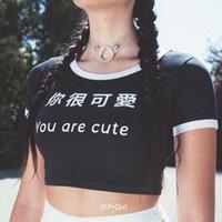 Mektup Yazdır Siz Çok Sevimli Kadın Giyim Moda Stil Rahat Giyim Bayan Yaz 2020 Desinger Tişörtleri Kısa Tarzı Ekip Boyun